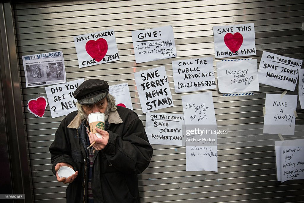 Jerry Delakas, who has run a newspaper stand at Astor Place since the 1970s, waits outside his stand for a locksmith to reopen the stand, after being barred from working at the stand for 11 months, on January 14, 2014 in New York City. For years, Delakas rented the stand from a husband and wife duo who eventually passed away, but gave Delakas the license to the stand in their will. In 2011, city officials said Delakas was running the stand illegally, and eventually forced him to shut the stand down. In an attempt to petition city officials, Delakas and a neighborhood supporter, Kelly King, recently waited hours in the rain to meet newly inaugerated mayor Bill De Blasio at Gracie Mansion during an open house. De Blasio said he had heard of Delakas' plight, and arranged for the stand to be reopened for Delakas.