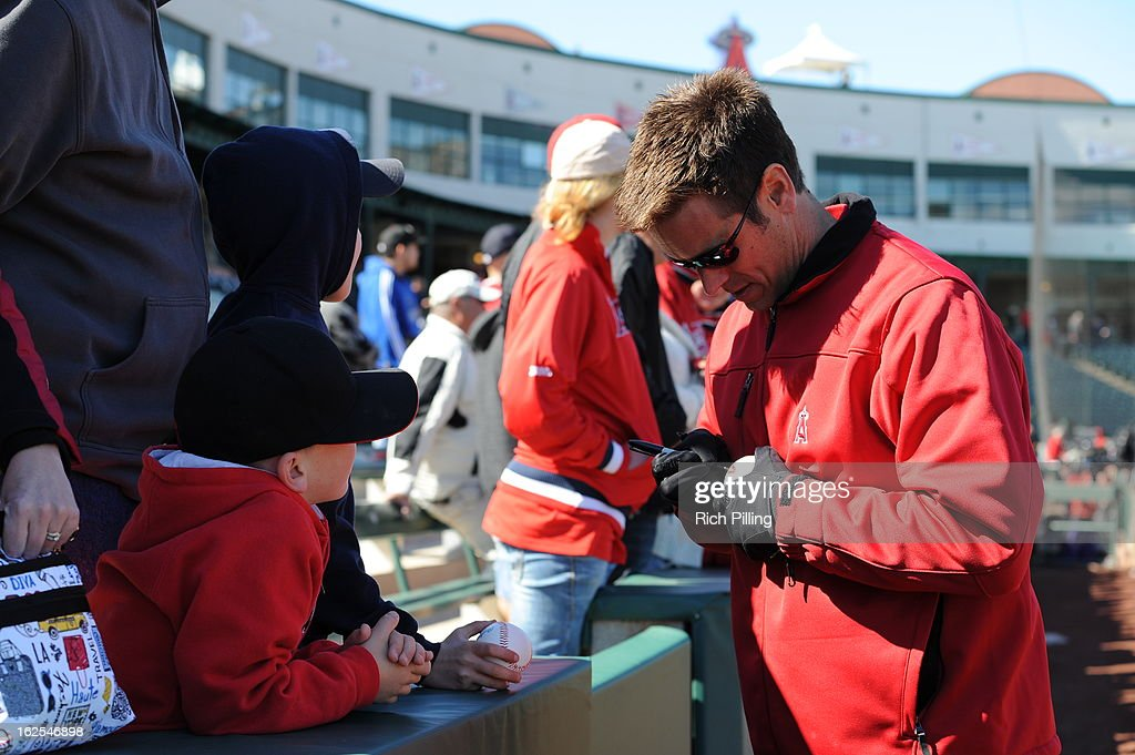 Jerry Dipoto, general manager of the Los Angeles Angels of Anaheim is seen prior to the game against the Oakland Athletics on February 24, 2013 at Tempe Diablo Stadium in Tempe, Arizona. The Athletics defeated the Angels 7-5.