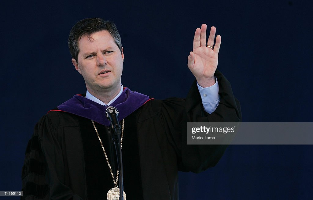 Jerry Falwell Jr speaks during the school's 34th commencement ceremony the first without Rev Jerry Falwell May 19 2007 in Lynchburg University...