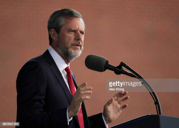 Jerry Falwell President of Liberty University speaks during a commencement at Liberty University May 13 2017 in Lynchburg Virginia President Donald...