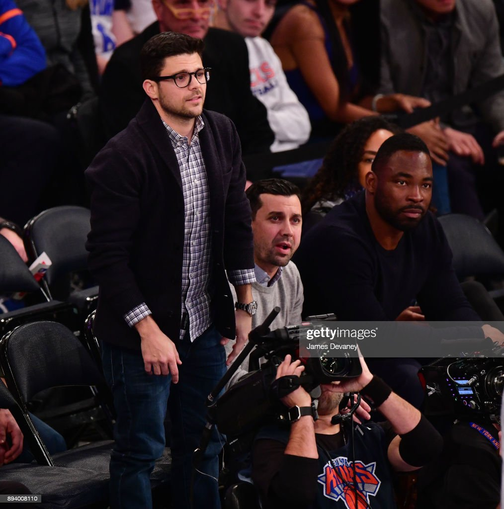 Jerry Ferrara and Justin Tuck attend the Oklahoma City Thunder Vs New York Knicks game at Madison Square Garden on December 16, 2017 in New York City.