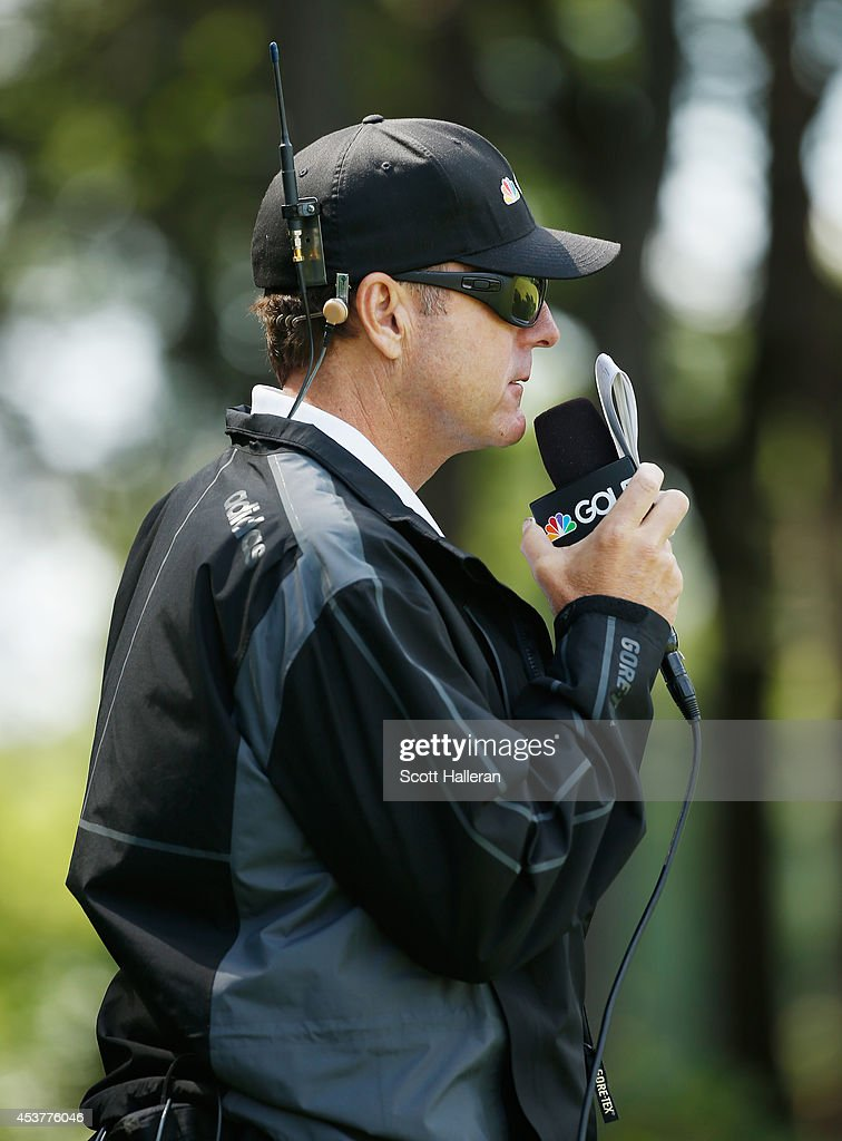 Jerry Foltz reports for Golf Channel during the final round of the Wegmans LPGA Championship at Monroe Golf Club on August 17, 2014 in Pittsford, New York.