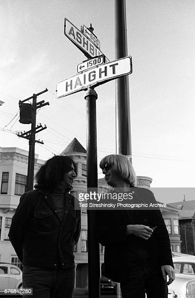 Jerry Garcia and Phil Lesh of the Grateful Dead talk under the street signs on the corner of Ashbury and Haight streets in San Francisco | Location...