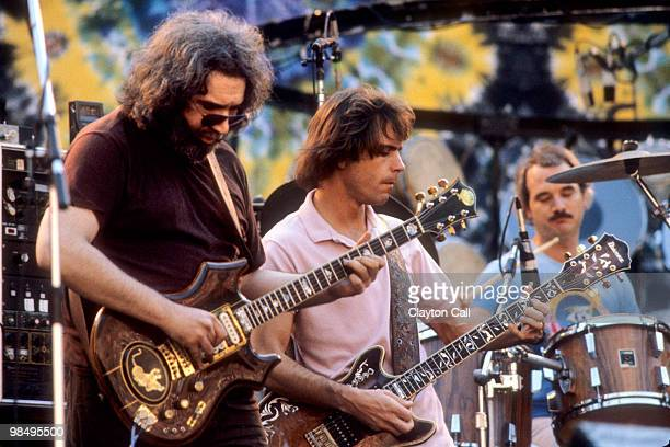 Jerry Garcia Bob Weir and Bill Kreutzmann performing with the Grateful Dead at the Greek Theater in Berkeley on September 13 1981