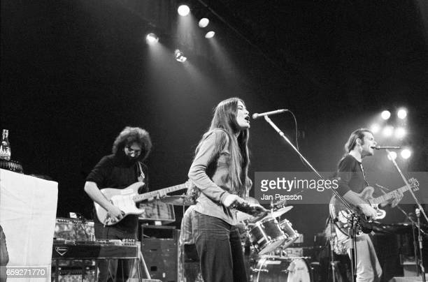 Jerry Garcia Donna Godchaux and Bob Weir of Grateful Dead performing in Copenhagen Denmark May 1972