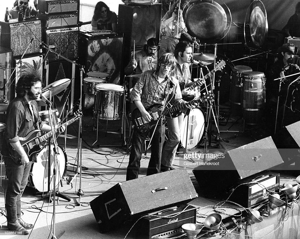 Jerry Garcia, Mickey Hart, Phil Lesh, Bob Weir and Ron Pigpen McKernanat of the Grateful Dead perform on stage at the Hollywood Music Festival on 24th May 1970 in Leycett near Newcastle-Under-Lyme, United Kingdom.