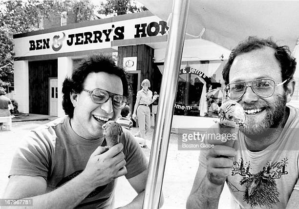 Jerry Greenfield and Ben Cohen partners of a homemade ice cream stand Ben Jerry's in Bennington Vt