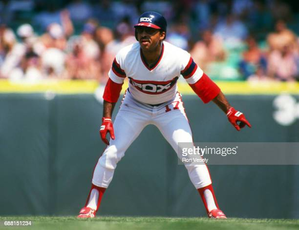 Jerry Hairston of the Chicago White Sox leads off first base during an MLB game at Comiskey Park in Chicago Illinois Hairston played for the White...