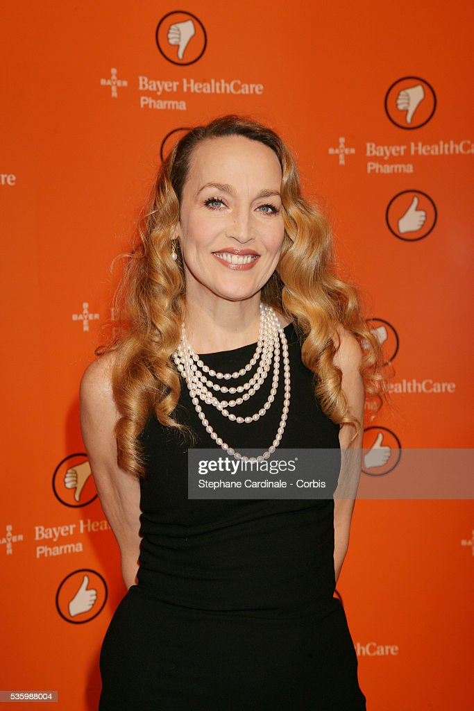 Jerry Hall, ambassador of Bayer Health Care during a press conference of the 'Erection Trouble Program'.