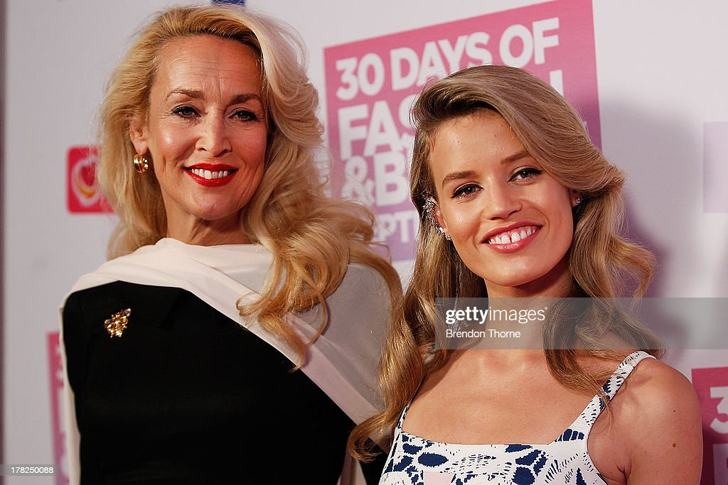 <a gi-track='captionPersonalityLinkClicked' href=/galleries/search?phrase=Jerry+Hall&family=editorial&specificpeople=171120 ng-click='$event.stopPropagation()'>Jerry Hall</a> and Georgia May Jagger arrive at the 30 Days of Fashion and Beauty Launch Party at Town Hall on August 28, 2013 in Sydney, Australia.