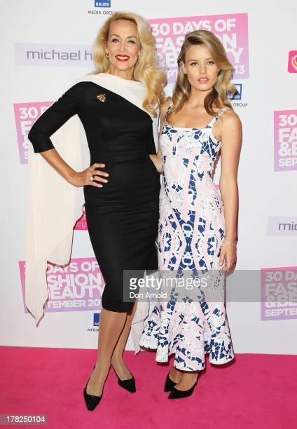 Jerry Hall and Georgia May Jagger arrive at the 30 Days of Fashion and Beauty launch party at Town Hall on August 28 2013 in Sydney Australia