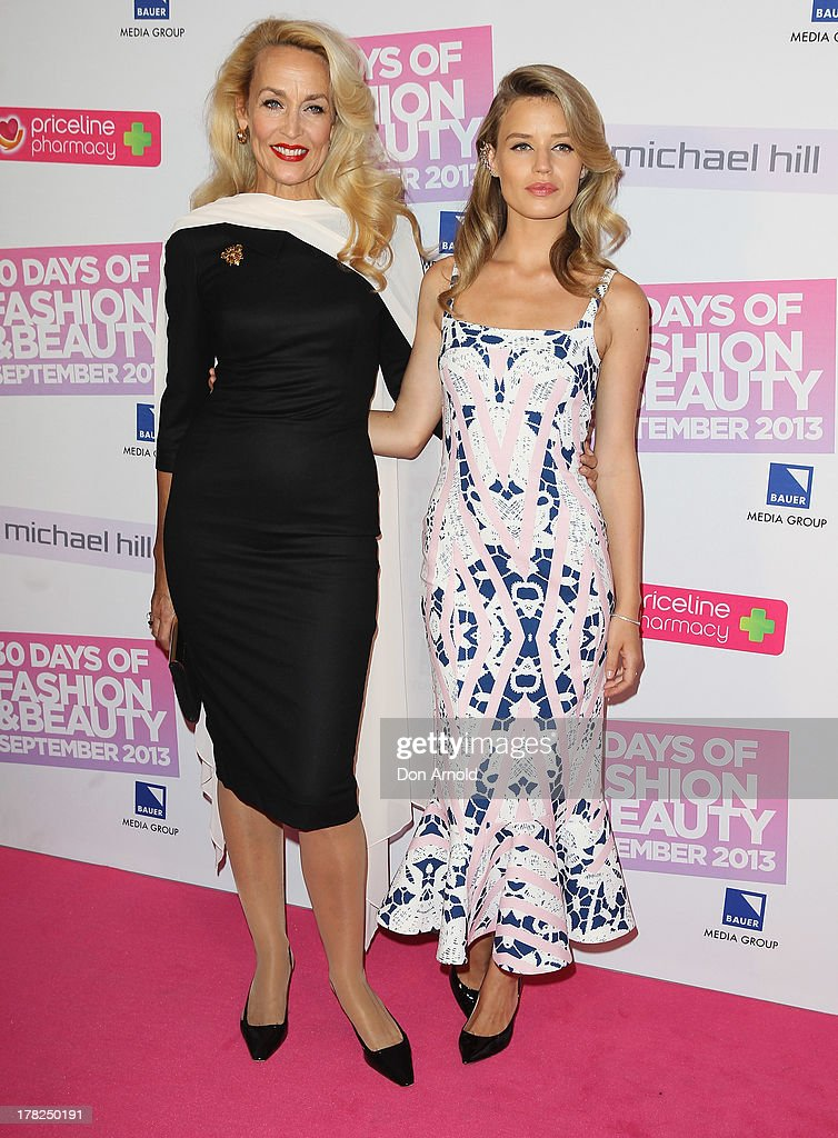 Jerry Hall and Georgia May Jagger arrive at the 30 Days of Fashion and Beauty launch party at Town Hall on August 28, 2013 in Sydney, Australia.