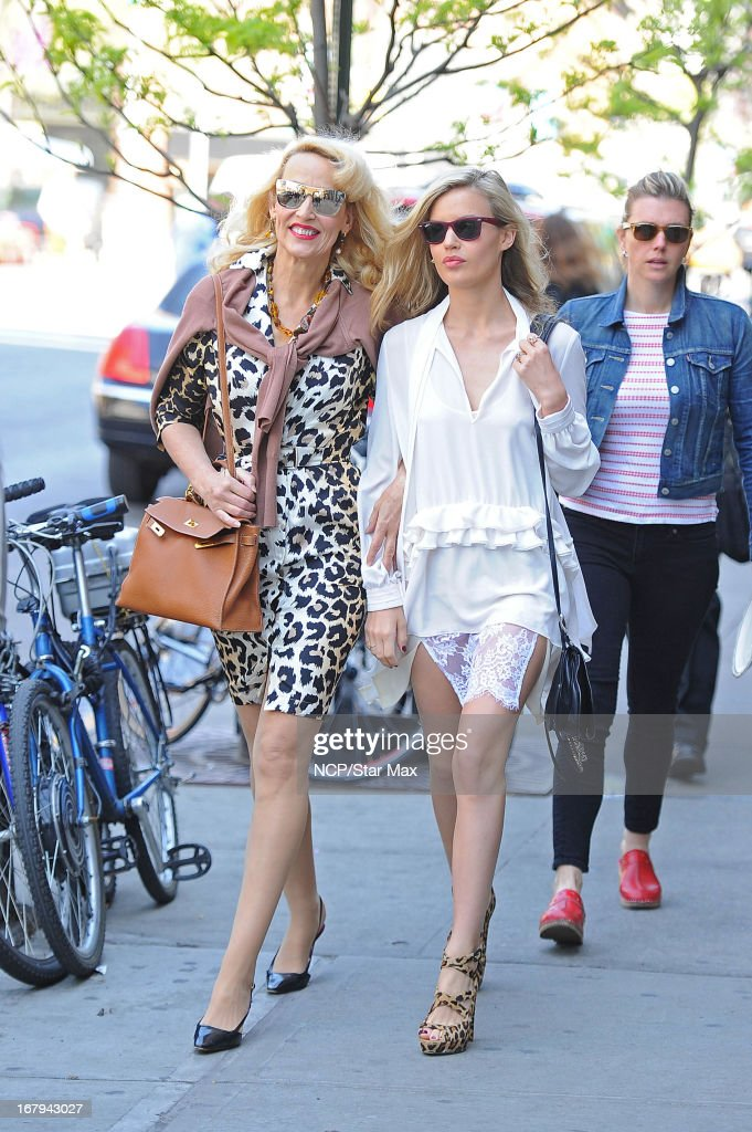Jerry Hall and Georgia May Jagger as seen on May 2, 2013 in New York City.