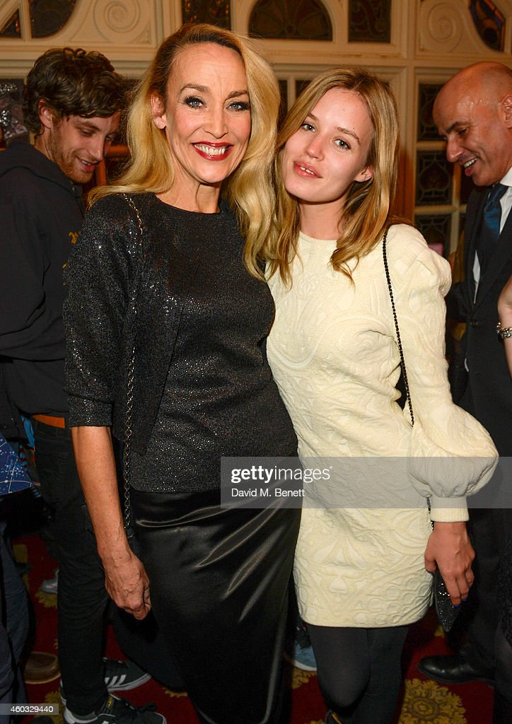 Jerry Hall and Georgia May Jagger attend the press night performance of 'Snow White And The Seven Dwarfs' at the Richmond Theatre on December 11 2014...