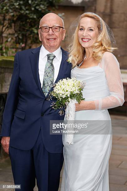 Jerry Hall and Rupert Murdoch are seen leaving St Bride's Church after their second wedding ceremony on March 5 2016 in London England