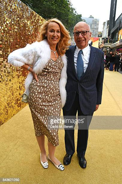 Jerry Hall and Rupert Murdoch attend the World Premiere of 'Absolutely Fabulous The Movie' at Odeon Leicester Square on June 29 2016 in London England