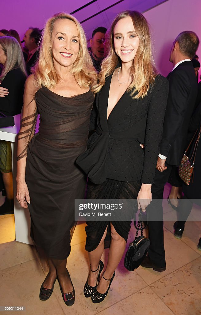 Jerry Hall and Suki Waterhouse attend a private view of 'Vogue 100 A Century of Style' hosted by Alexandra Shulman and Leon Max at the National...