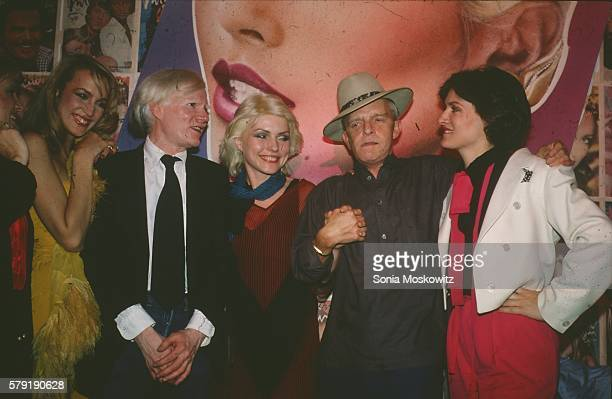 Jerry Hall Andy Warhol Debbie Harry Truman Capote and Paloma Picasso at Interview party at Studio 54 June 1979 in New York City