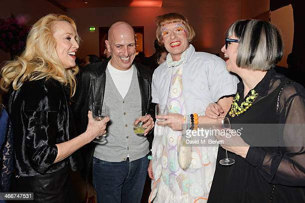 Jerry Hall Armand Leroi Grayson Perry and Philippa Perry attend a private view of Bailey's Stardust a exhibition of images by David Bailey supported...