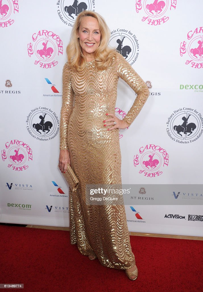 Jerry Hall arrives at the 2016 Carousel Of Hope Ball at The Beverly Hilton Hotel on October 8, 2016 in Beverly Hills, California.