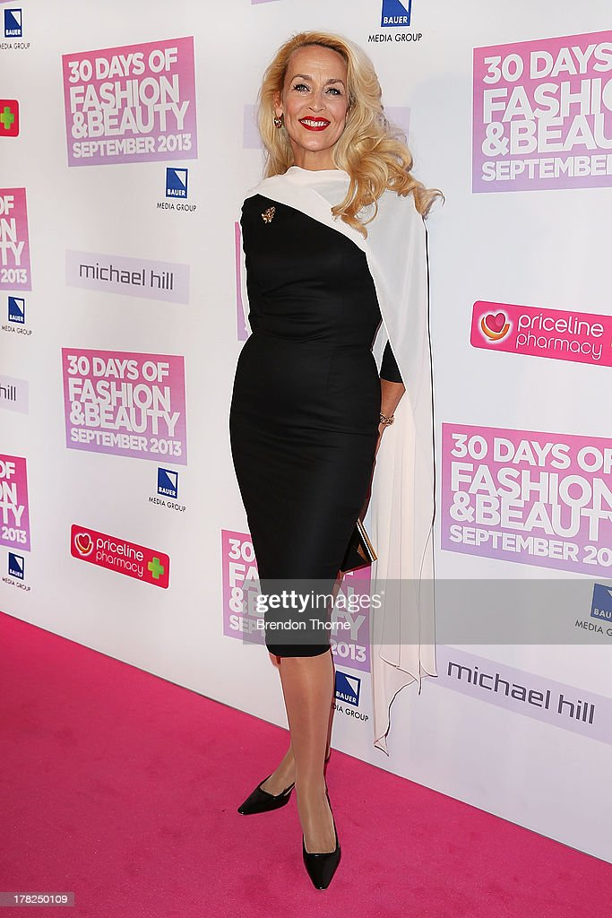 <a gi-track='captionPersonalityLinkClicked' href=/galleries/search?phrase=Jerry+Hall&family=editorial&specificpeople=171120 ng-click='$event.stopPropagation()'>Jerry Hall</a> arrives at the 30 Days of Fashion and Beauty Launch Party at Town Hall on August 28, 2013 in Sydney, Australia.