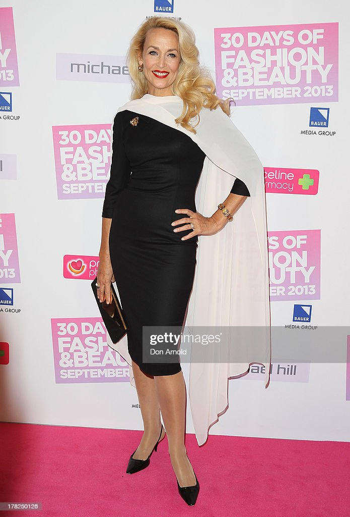 Jerry Hall arrives at the 30 Days of Fashion and Beauty launch party at Town Hall on August 28, 2013 in Sydney, Australia.