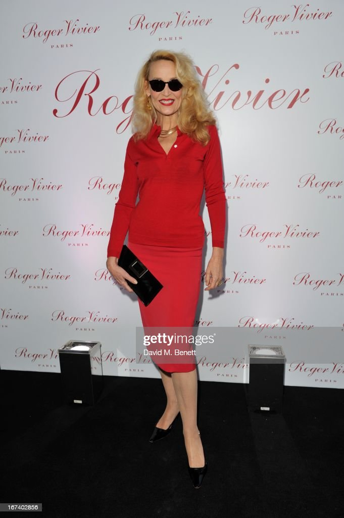 Jerry Hall arrives at the Roger Vivier Book published by Rizzoli UK launch party at Saatchi Gallery on April 24, 2013 in London, England.
