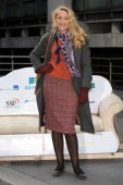 Jerry Hall attends a photocall to greet charity supporters following their 10 mile walk carrying a sofa to raise £10000 for Emmaus at Lloyds of...