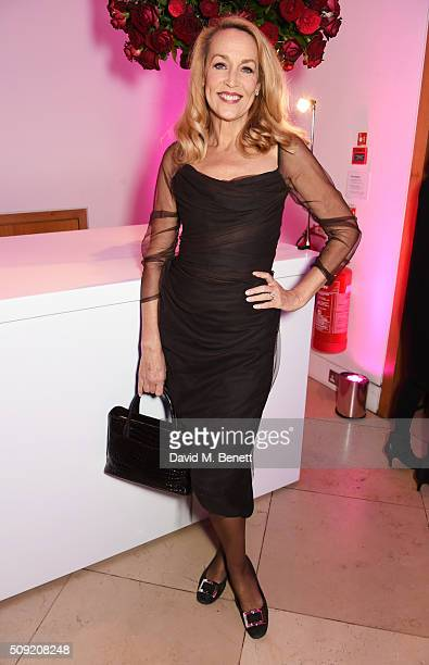 Jerry Hall attends a private view of 'Vogue 100 A Century of Style' hosted by Alexandra Shulman and Leon Max at the National Portrait Gallery on...