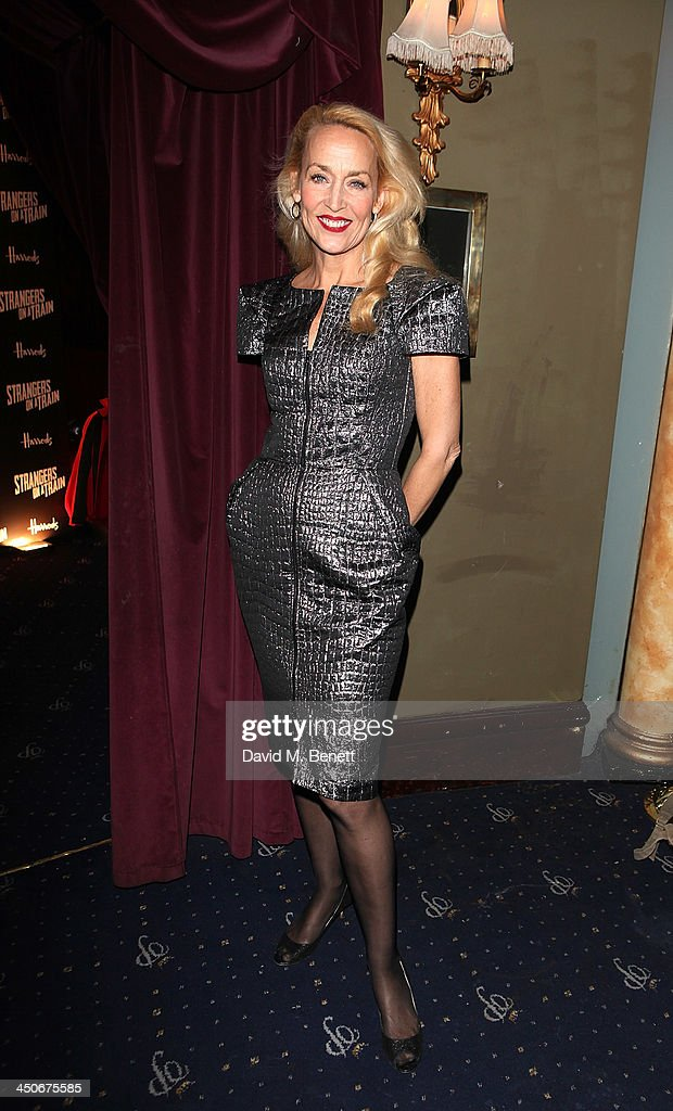 <a gi-track='captionPersonalityLinkClicked' href=/galleries/search?phrase=Jerry+Hall&family=editorial&specificpeople=171120 ng-click='$event.stopPropagation()'>Jerry Hall</a> attends an after party following the press night performance of 'Strangers On A Train' at the Cafe de Paris on November 19, 2013 in London, England.