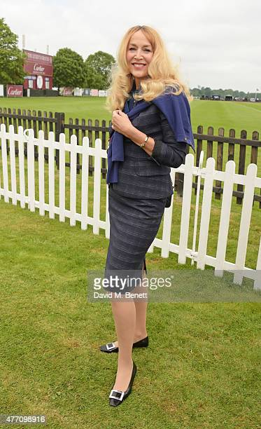 Jerry Hall attends The Cartier Queen's Cup final at Guards Polo Club on June 14 2015 in Egham England