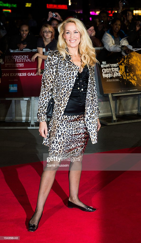 Jerry Hall attends the Premiere of 'Crossfire Hurricane' during the 56th BFI London Film Festival at Odeon Leicester Square on October 18, 2012 in London, England.
