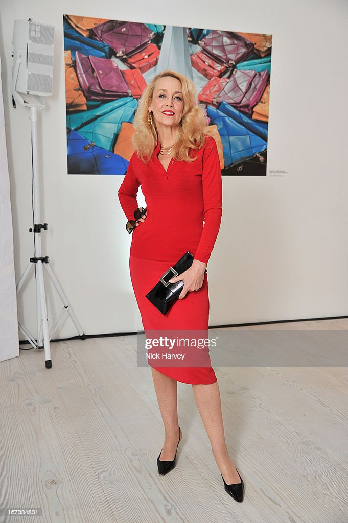 Jerry Hall attends the Roger Vivier book launch party at Saatchi Gallery on April 24, 2013 in London, England.