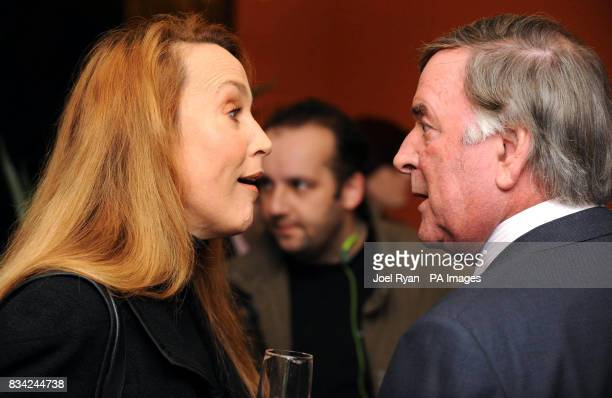 Jerry Hall chats to Sir Terry Wogan as they arrive for the 2008 Oldie of the Year Awards in association with Swan Hellenic held at Simpsons in...