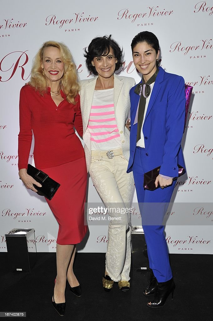 Jerry Hall, Ines de la Fressange and Caroline Issa arrive at the Roger Vivier Book published by Rizzoli UK launch party at Saatchi Gallery on April 24, 2013 in London, England.