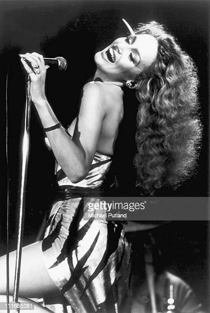 Jerry Hall performs on stage with Bryan Ferry at the Bottom Line club in New York 23rd June 1977