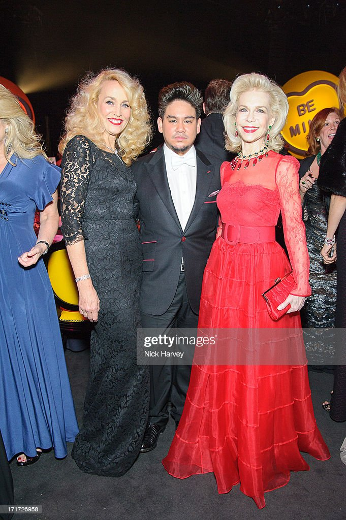 Jerry Hall, Prince Kasim of Brunei and Lynne Wyatt attend the 15th Annual White Tie and Tiara Ball to Benefit Elton John AIDS Foundation in Association with Chopard at Woodside on June 27, 2013 in Windsor, England. No sales to online/digital media worldwide until the 14th of July. No sales before July 14th, 2013 in UK, Spain, Switzerland, Mexico, Dubai, Russia, Serbia, Bulgaria, Turkey, Argentina, Chile, Peru, Ecuador, Colombia, Venezuela, Puerto Rico, Dominican Republic, Greece, Canada, Thailand, Indonesia, Morocco, Malaysia, India, Pakistan, Nigeria. All pictures are for editorial use only and mention of 'Chopard' and 'The Elton John Aids Foundation' are compulsory. No sales ever to Ok, Now, Closer, Reveal, Heat, Look or Grazia magazines in the United Kingdom. No sales ever to any jewellers or watchmakers other than Chopard.