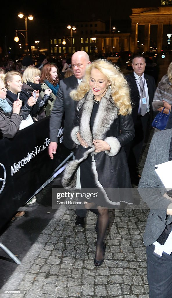 <a gi-track='captionPersonalityLinkClicked' href=/galleries/search?phrase=Jerry+Hall&family=editorial&specificpeople=171120 ng-click='$event.stopPropagation()'>Jerry Hall</a> sighting during Mercedes-Benz Fashion Week Autumn/Winter 2014/15 at Brandenburg Gate on January 18, 2014 in Berlin, Germany.