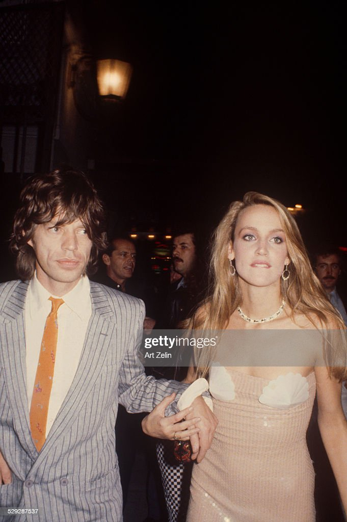 Jerry Hall with Mick Jagger going to a formal event circa 1980 New York