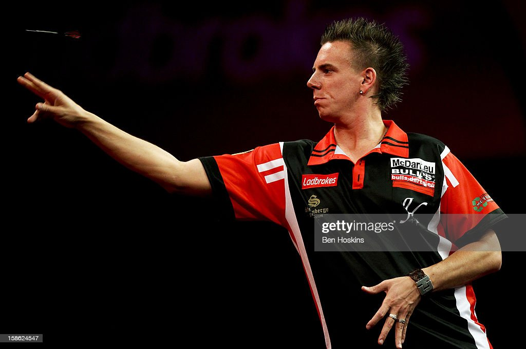 Jerry Hendriks of the Netherlands in action during his second round match on day eight of the 2013 Ladbrokes.com World Darts Championship at the Alexandra Palace on December 21, 2012 in London, England.