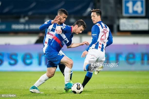 Jerry Jeremiah St Juste of sc Heerenveen Erik Falkenburg of Willem II Yuki Kobayashi of sc Heerenveenduring the Dutch Eredivisie match between sc...