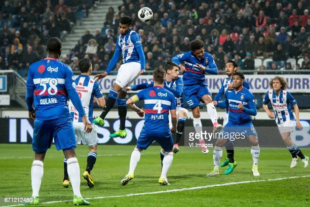 Jerry Jeremiah St Juste of sc Heerenveen Funso King Ojo of Willem IIduring the Dutch Eredivisie match between sc Heerenveen and Willem II at Abe...