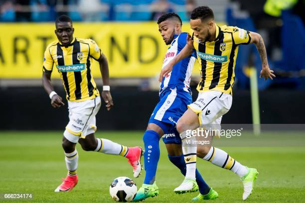 Jerry Jeremiah St Juste of sc Heerenveen Lewis Baker of Vitesseduring the Dutch Eredivisie match between Vitesse Arnhem and sc Heerenveen at...