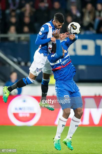 Jerry Jeremiah St Juste of sc Heerenveen Obbi Oulare of Willem IIduring the Dutch Eredivisie match between sc Heerenveen and Willem II at Abe Lenstra...