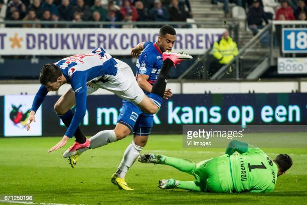 Jerry Jeremiah St Juste of sc Heerenveen Pele van Anholt of Willem II goalkeeper Kostas Lamprou of Willem IIduring the Dutch Eredivisie match between...