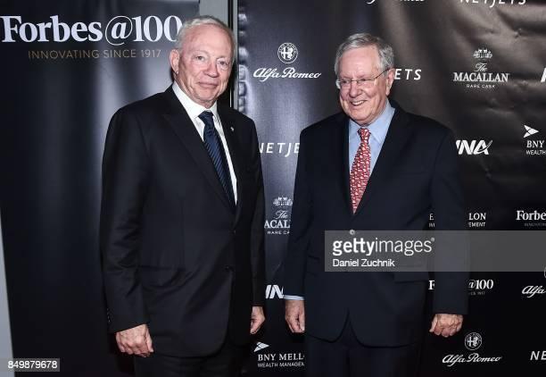 Jerry Jones and Warren Buffett attend the Forbes Media Centennial Celebration at Pier 60 on September 19 2017 in New York City