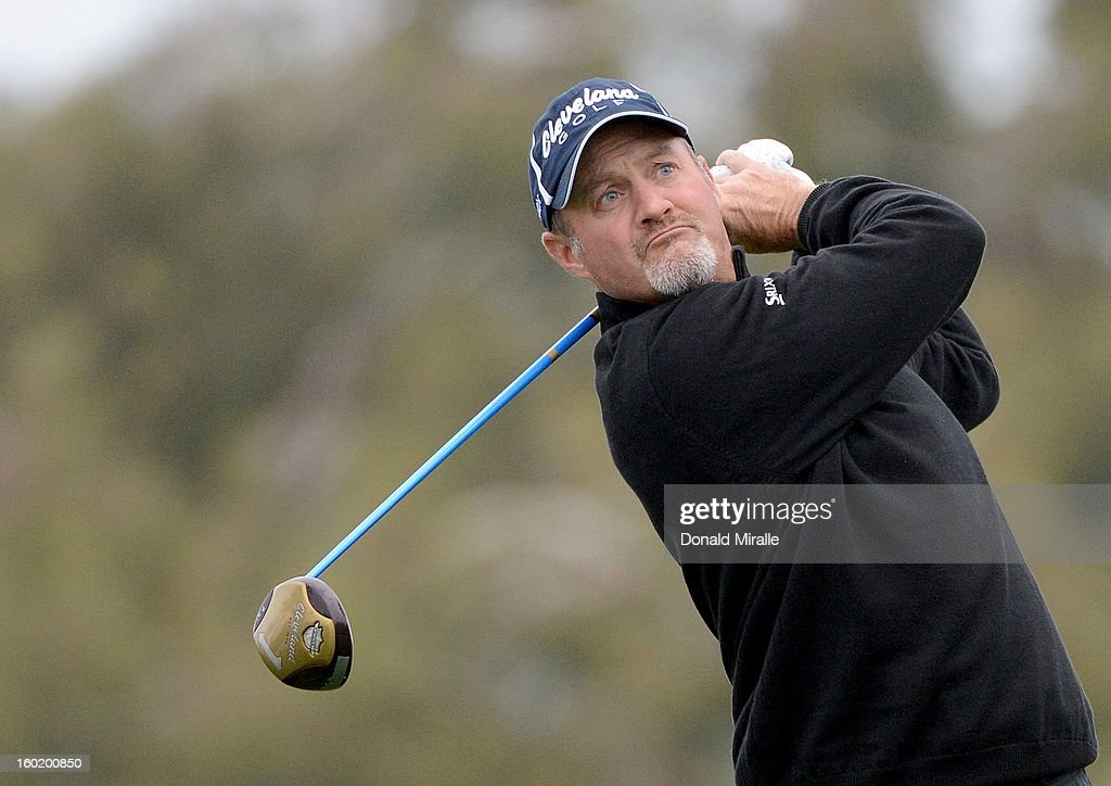 Jerry Kelly hits off the tee box during the Third Round at the Farmers Insurance Open at Torrey Pines South Golf Course on January 27, 2013 in La Jolla, California.