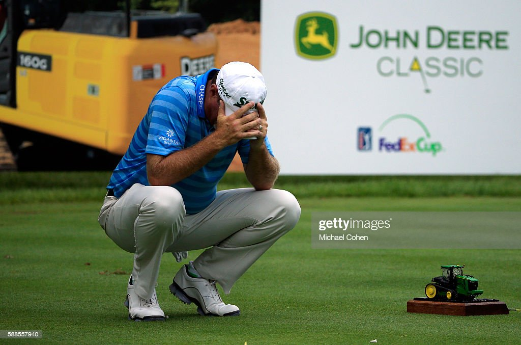 Jerry Kelly reacts to his shot on the 16th tee during the first round of the John Deere Classic at TPC Deere Run on August 11 2016 in Silvis Illinois