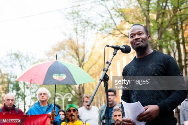 Jerry King Luther Afriyie better known as Kno'ed Cesare poet and founder of the organization quotNederland Wordt Beterquot during a protest called by...