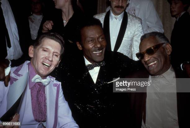 Jerry Lee Lewis Chuck Berry and Ray Charles attend the 1986 Rock n Roll Hall of Fame Induction Ceremony circa 1986 in New York City